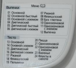 Программы хлебопечки 2501