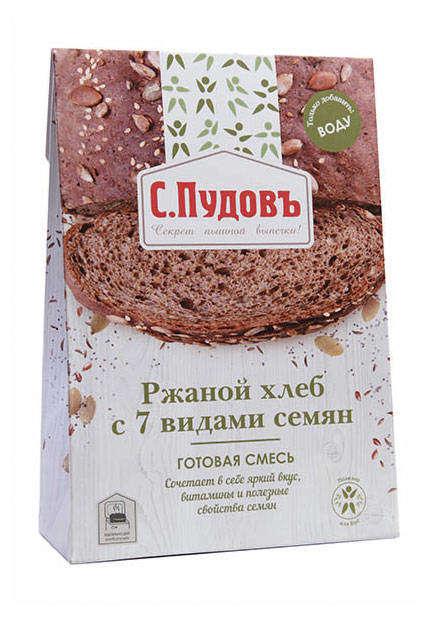 Хлебная смесь «С.Пудовъ», ржаной хлеб с 7 видами семян, 500 г